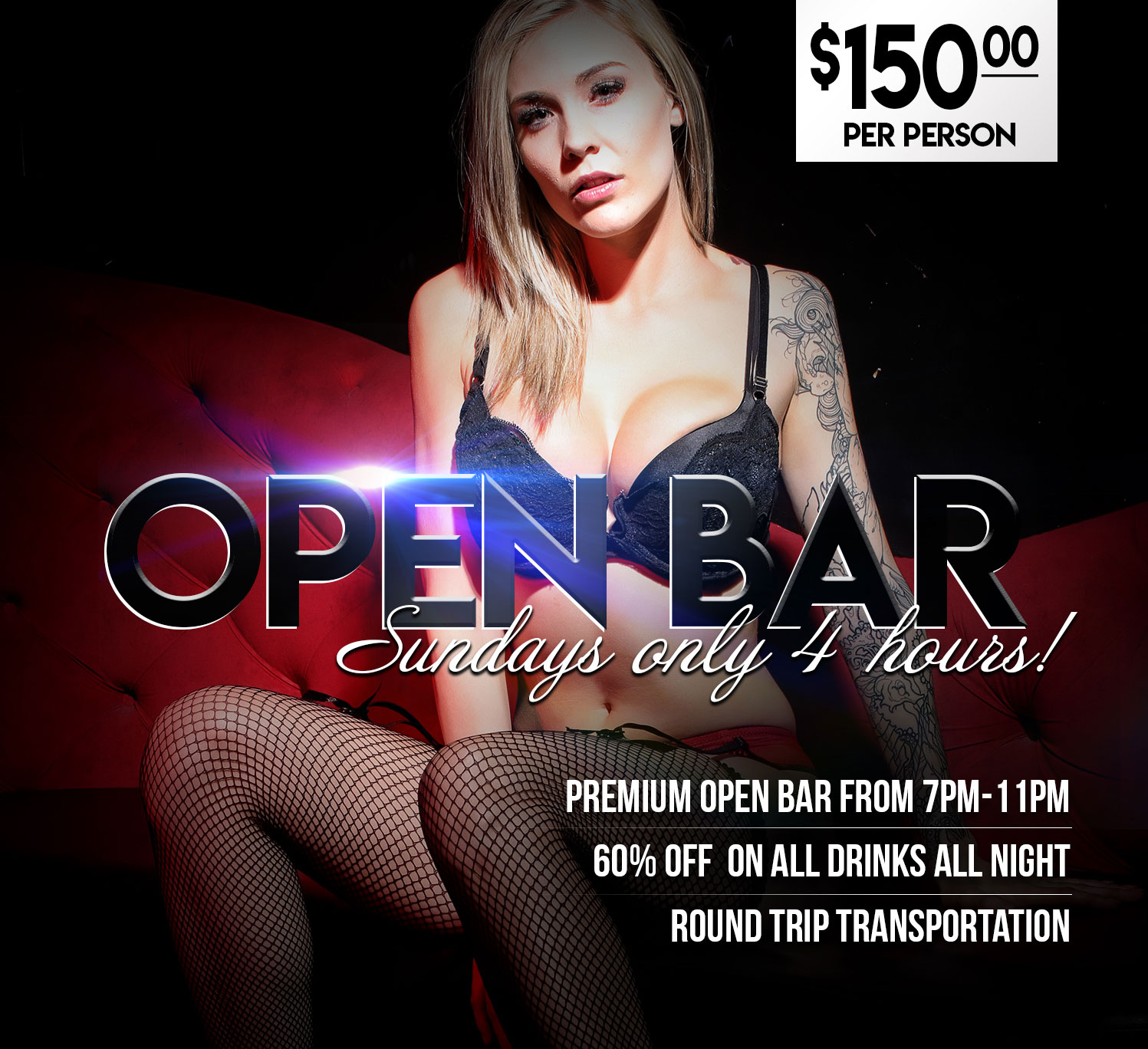 Hustler Club Las Vegas - Open Bar Package - Sundays Only (4 Hours)